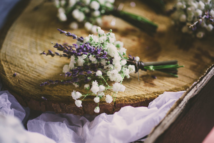 Lavender Gypsophila Buttonhole Woodland Farm Camp Wedding http://emmastonerweddings.com/