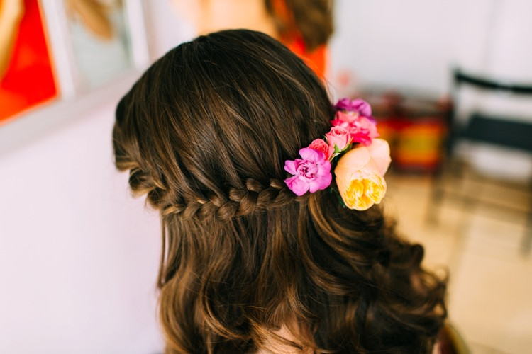 Hair Bride Bridal Style Braid Plait Flowers Colourful Mexican Garden Wedding http://jennifersmithphotography.co.uk/