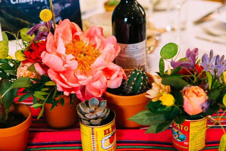 Cactus Cacti Succulent Tins Decor Peony Colourful Mexican Garden Wedding http://jennifersmithphotography.co.uk/