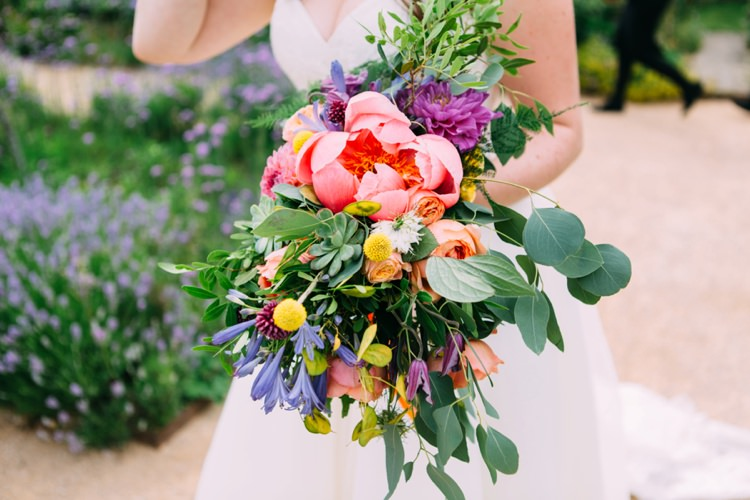 Bouquet Peony Peonies Billy Ball Succulent Bride Bridal Flowers Colourful Mexican Garden Wedding http://jennifersmithphotography.co.uk/