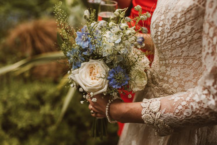 Rose Bouquet Blue Flowers Bride Bridal Homely Ethereal Intimate Country House Wedding https://www.photosligo.com/