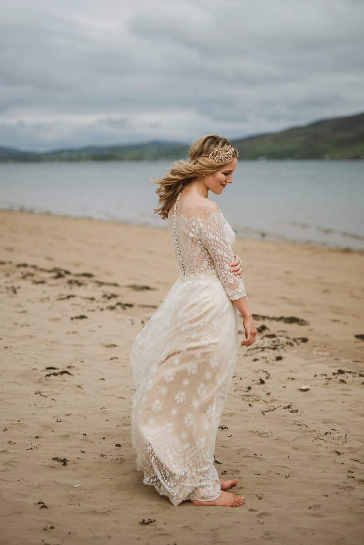 Dress Gown Lace Sleeves Sheer Nude Vintage Bohemian Bride Bridal Divine Atelier Aimee Barefoot Homely Ethereal Intimate Country House Wedding https://www.photosligo.com/