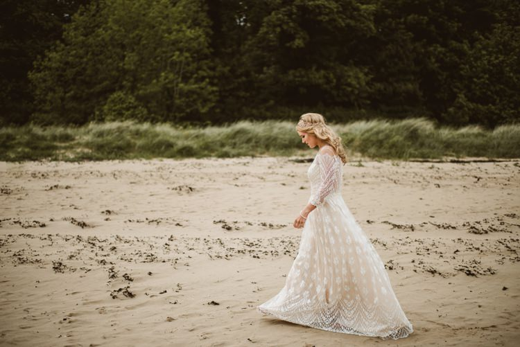Dress Gown Lace Sleeves Sheer Nude Vintage Bohemian Bride Bridal Divine Atelier Aimee Homely Ethereal Intimate Country House Wedding https://www.photosligo.com/