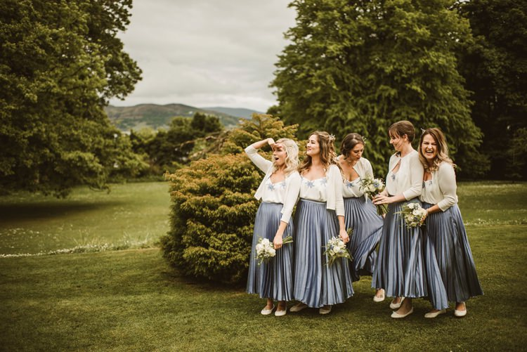 Cornflower Blue Bridesmaids Skirts Tops Cardigans Homely Ethereal Intimate Country House Wedding https://www.photosligo.com/