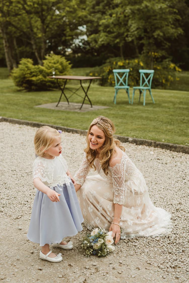 Flower Girl Blue Skirt Top Homely Ethereal Intimate Country House Wedding https://www.photosligo.com/