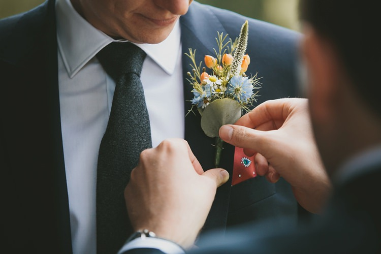 Buttonhole Peach Blue Berries Rosemary Groom DIY Pretty Pastel Tipi Wales Wedding http://www.mckinley-rodgers.co.uk/