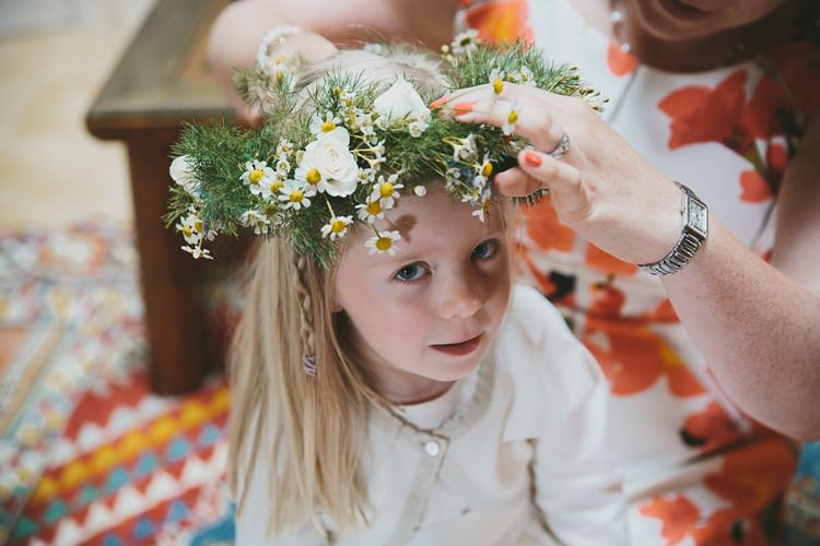 Flower Crown Girl Bridesmaid Daisies DIY Pretty Pastel Tipi Wales Wedding http://www.mckinley-rodgers.co.uk/