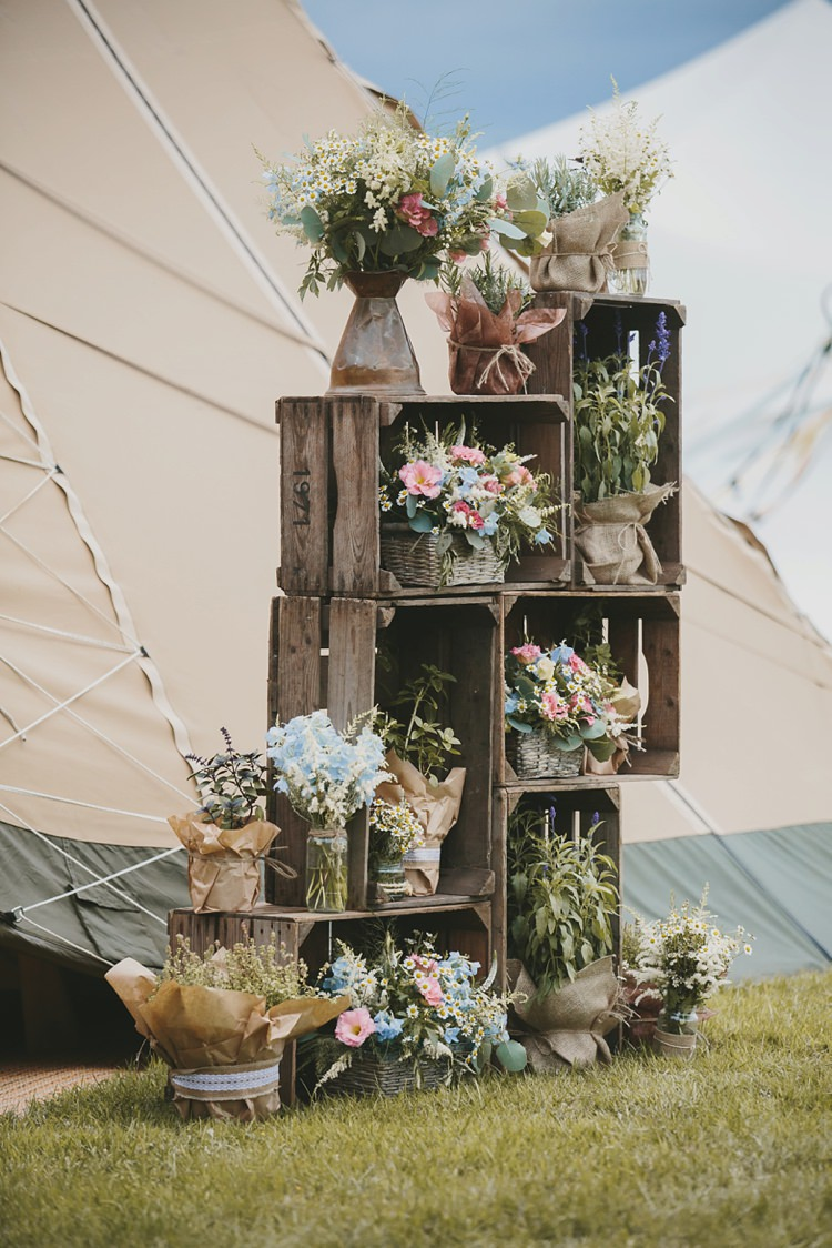 Crate Decoration Flowers Pots Baskets Vases DIY Pretty Pastel Tipi Wales Wedding http://www.mckinley-rodgers.co.uk/