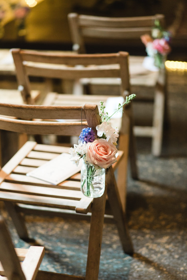 Chair Flowers Aisle Ceremony Jars The Prettiest Spring Barn Pastels Wedding https://www.thegibsonsphotography.co.uk/