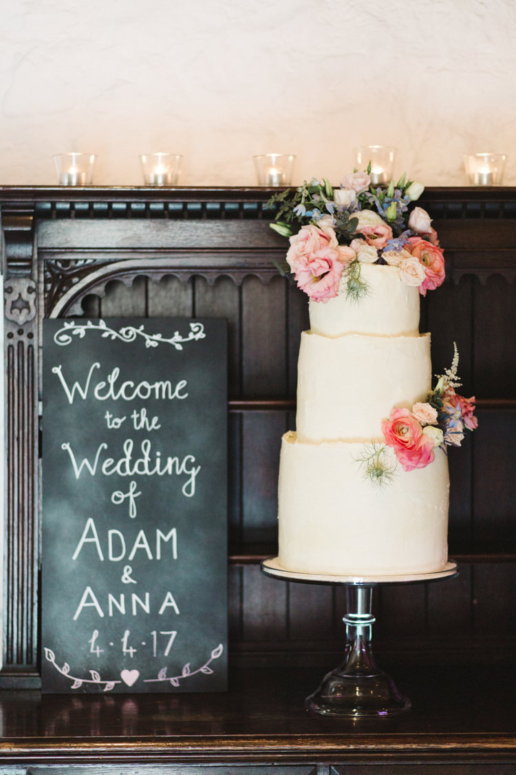 Buttercream Cake Flowers Welcome Sign Black Chalk Board The Prettiest Spring Barn Pastels Wedding https://www.thegibsonsphotography.co.uk/