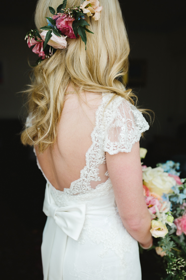 Lace Low Back Bow Dress Gown Bride Bridal Sleeve The Prettiest Spring Barn Pastels Wedding https://www.thegibsonsphotography.co.uk/