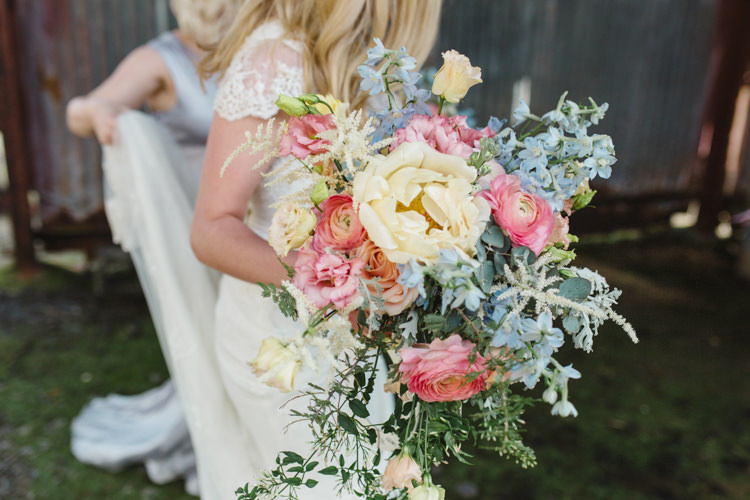 Bouquet Flowers Bride Bridal Pink Yellow Blue Peony Ranunculus Rose The Prettiest Spring Barn Pastels Wedding https://www.thegibsonsphotography.co.uk/