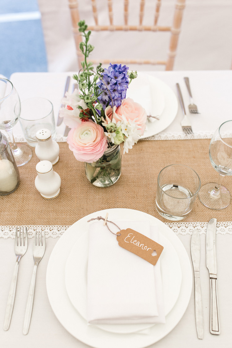 Place Setting Card Luggage Tag Hessian The Prettiest Spring Barn Pastels Wedding https://www.thegibsonsphotography.co.uk/