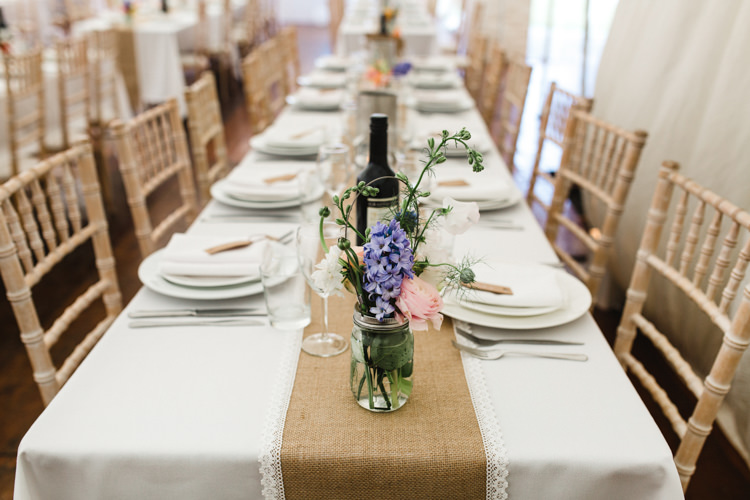 Hessian Lace Table Runner The Prettiest Spring Barn Pastels Wedding https://www.thegibsonsphotography.co.uk/