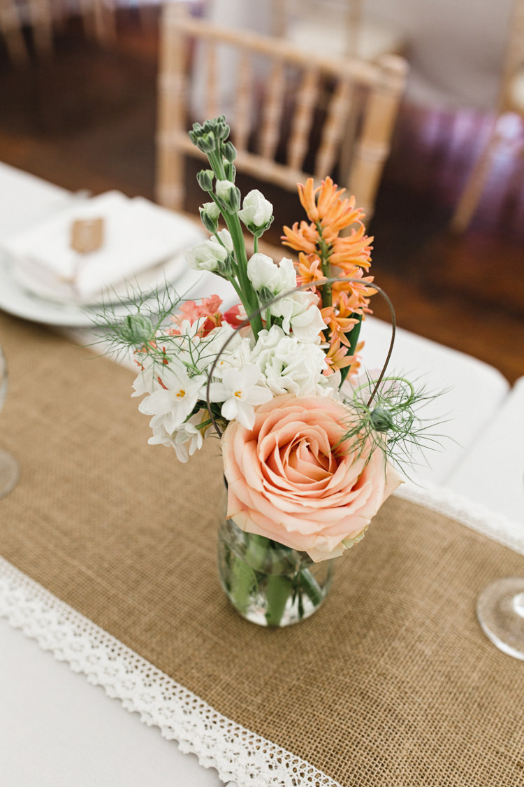 Jar Flowers Peach White Decor Table Centrepiece The Prettiest Spring Barn Pastels Wedding https://www.thegibsonsphotography.co.uk/