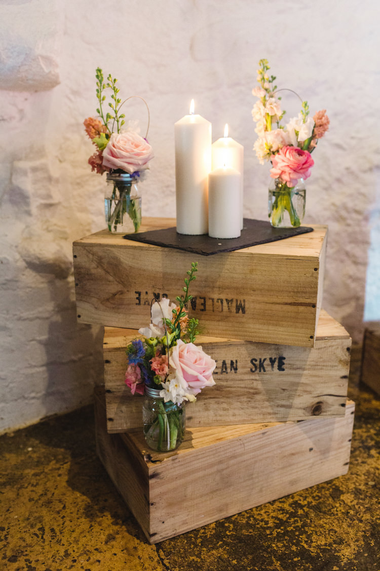 Crates Candles Flowers Jars Decor The Prettiest Spring Barn Pastels Wedding https://www.thegibsonsphotography.co.uk/