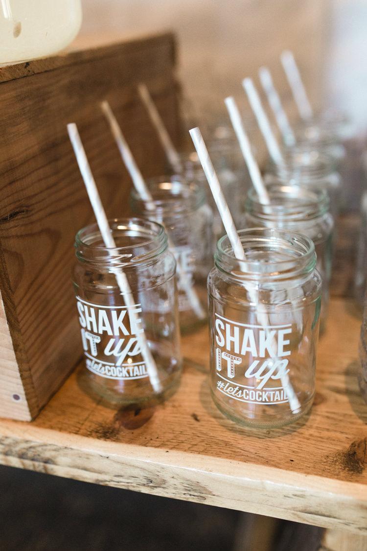 Jam Jar Drinks Straws The Prettiest Spring Barn Pastels Wedding https://www.thegibsonsphotography.co.uk/