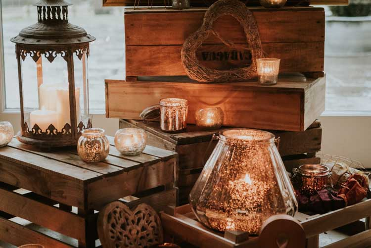 Autumn Inspiration Wooden Crates Candles Rustic Fall Display http://www.weddingphotographyincheltenham.co.uk/