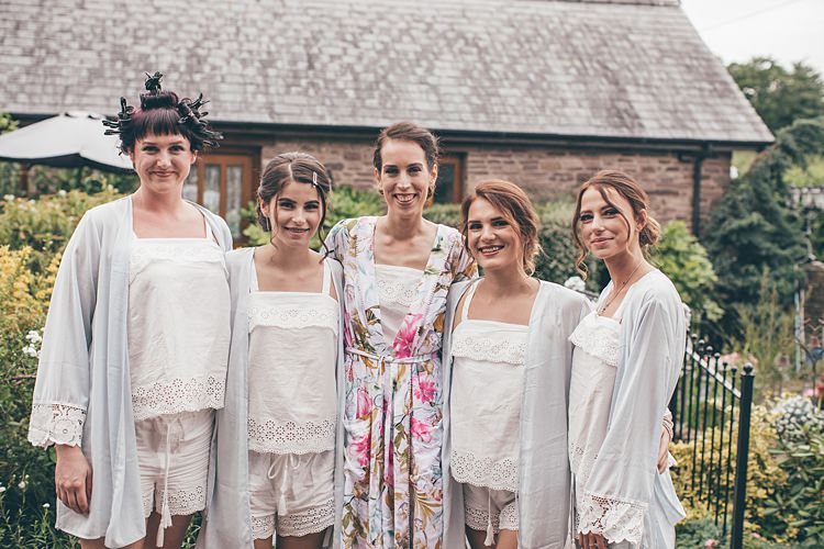 Bridesmaids Bride PJs Shorts Dressing Gowns Beautiful Floral Bohemian Garden Wedding http://rachellambertphotography.co.uk/