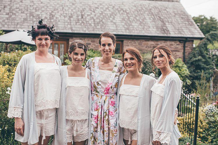Bridesmaids Bride PJs Shorts Dressing Gowns Beautiful Floral Bohemian Garden Wedding http://rachellambertphotography.co.uk/