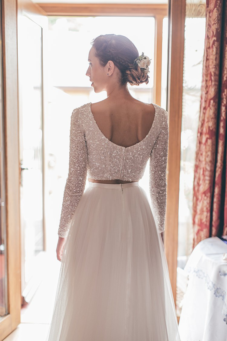 Sequin Long Sleeve Crop Top Bride Bridal Dress Gown Skirt Theia Beautiful Floral Bohemian Garden Wedding http://rachellambertphotography.co.uk/
