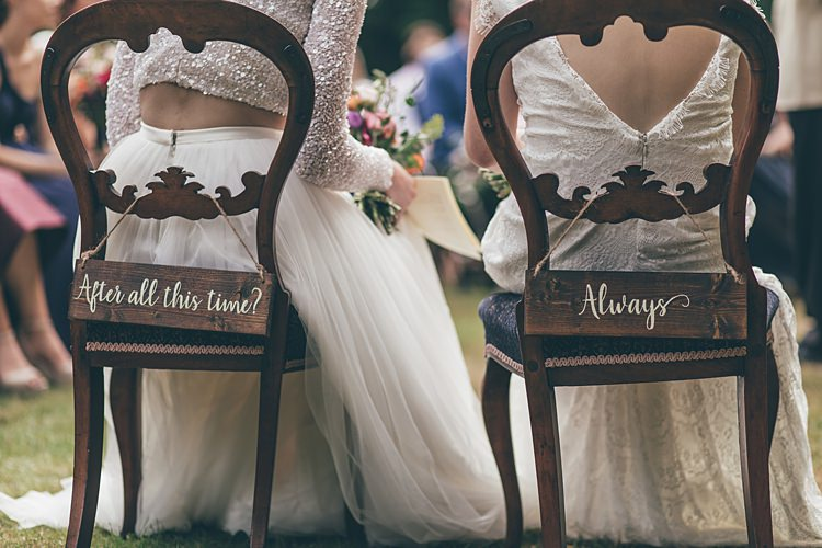 Chairs Sign Harry Potter Wooden Ceremony Rustic Beautiful Floral Bohemian Garden Wedding http://rachellambertphotography.co.uk/