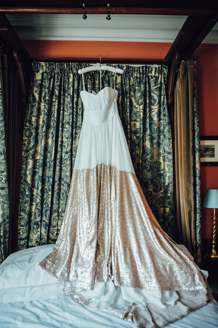 Dress Gown Bride Bridal Festoons Gold Sequin City Party Wedding http://septemberpictures.com/