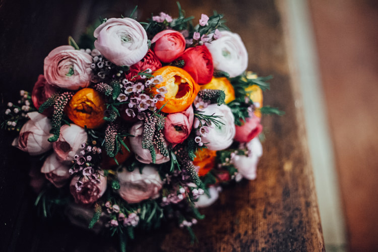Wax Flower Ranunculus Bouquet Flowers Bride Bridal Pink Red Festoons Gold Sequin City Party Wedding http://septemberpictures.com/
