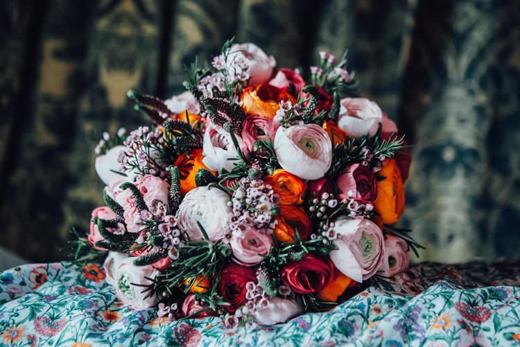 Wax Flower Ranunculus Bouquet Flowers Bride Bridal Pink Red Festoons Gold Sequin City Party Wedding http://septemberpictures.com/