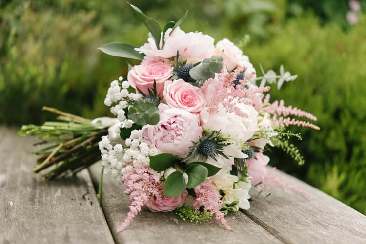 Blush Bouquet Rose Peony Gypsophila Thistle Crafty Pretty Pastel Budget Wedding http://lilysawyer.com/