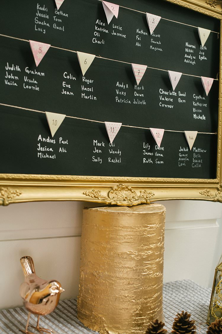 Table Plan Seating Chart Blackboard Gold Frame Bunting Crafty Pretty Pastel Budget Wedding http://lilysawyer.com/
