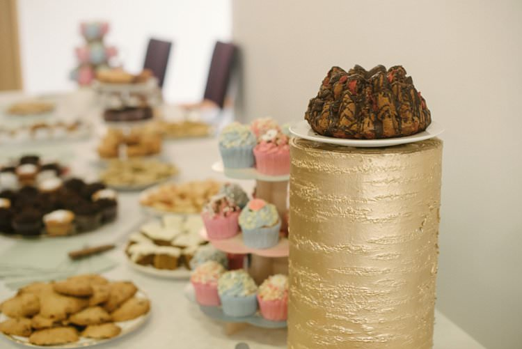 Cake Table Sweet Treats Gold Log Crafty Pretty Pastel Budget Wedding http://lilysawyer.com/