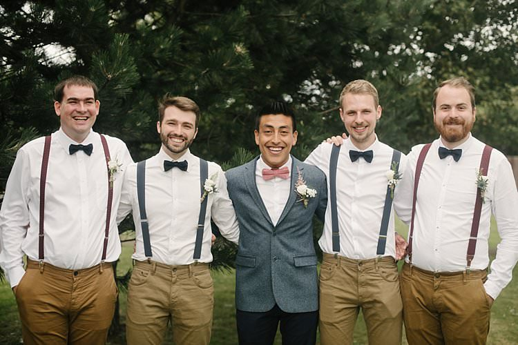 Groom Groomsmen Braces Chinos Bow Tie Wool Jacket Ted Baker Zara Crafty Pretty Pastel Budget Wedding http://lilysawyer.com/