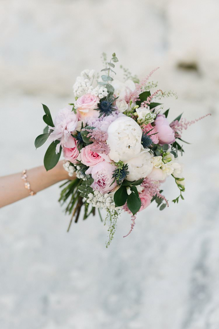 Bouquet Blush Pink Peony Rose Thistle Stocks Crafty Pretty Pastel Budget Wedding http://lilysawyer.com/
