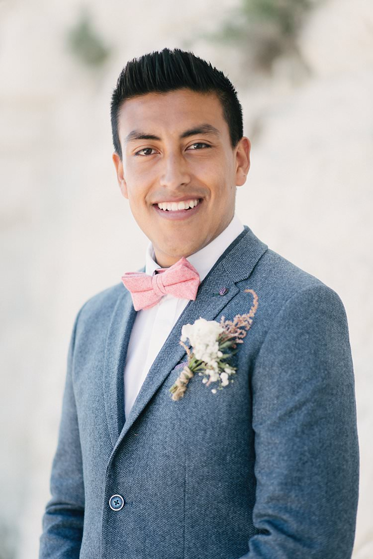 Groom Wool Jacket Pink Bow Tie Ted Baker Zara Crafty Pretty Pastel Budget Wedding http://lilysawyer.com/