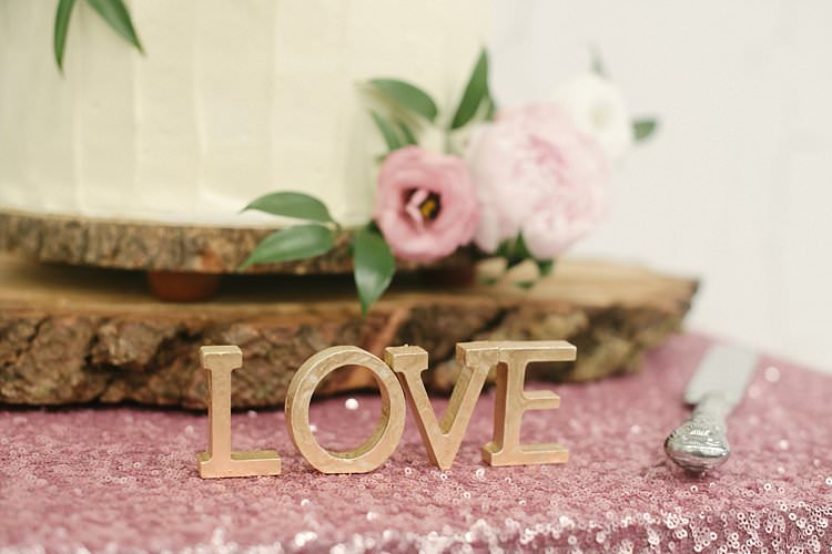 Cake Table Pink Sequin Cloth Log Base Stand Love Cutout Letters Crafty Pretty Pastel Budget Wedding http://lilysawyer.com/