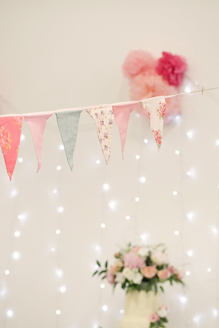 Bunting Pink Blush Floral Mismatched Fairy Lights Crafty Pretty Pastel Budget Wedding http://lilysawyer.com/