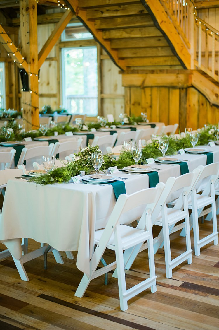 Table Place Setting Greenery Runner White Linen Whimsical Woods Wedding Barn Ohio http://www.connectionphotoblog.com/