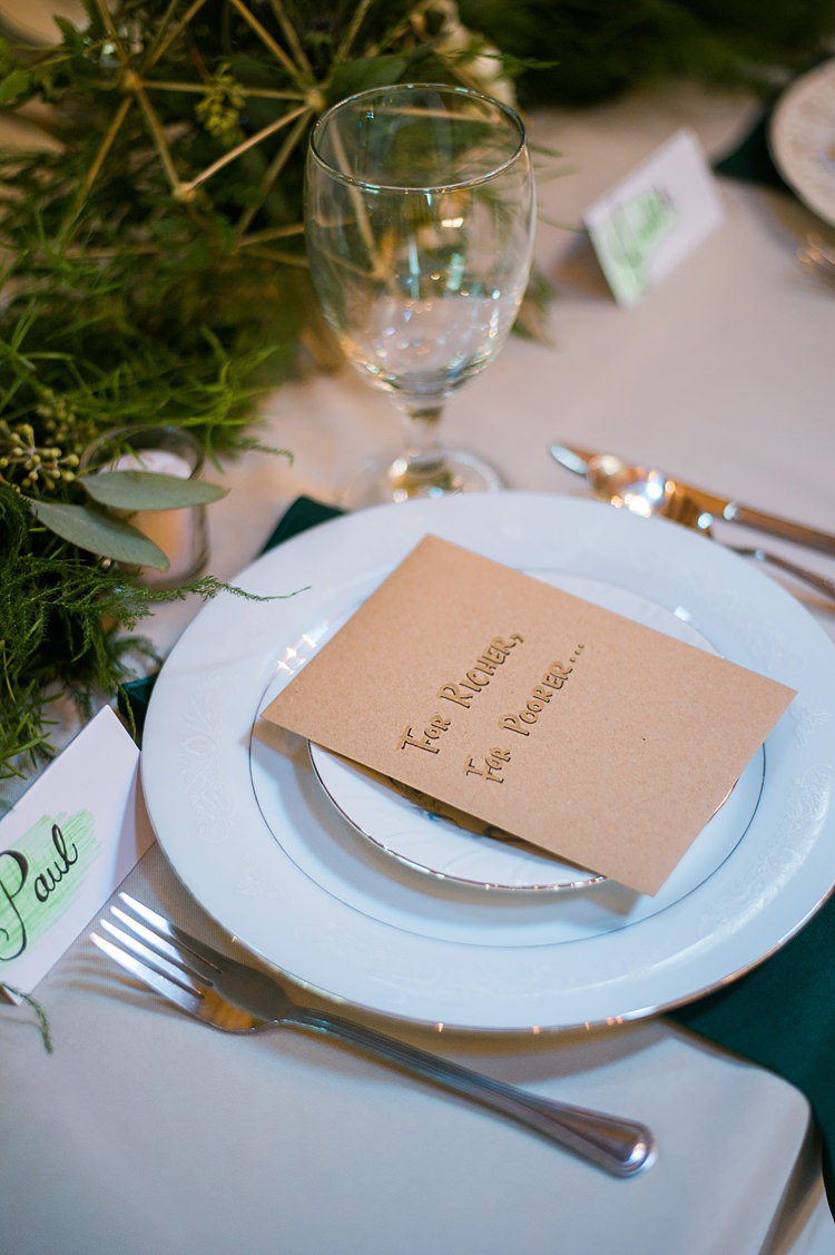 Place Setting Greenery Favours Lottery Tickets Tables Gold Whimsical Woods Wedding Barn Ohio http://www.connectionphotoblog.com/