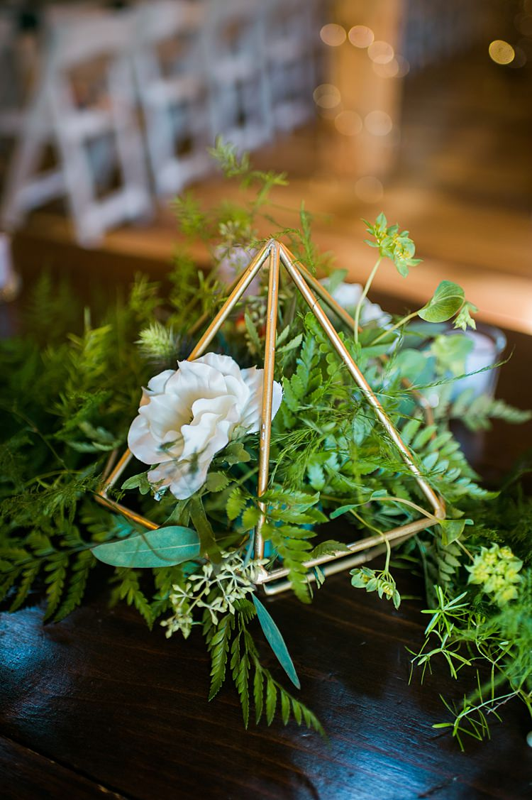 Decoration Greenery Gold Centrepiece Pyramid Whimsical Woods Wedding Barn Ohio http://www.connectionphotoblog.com/