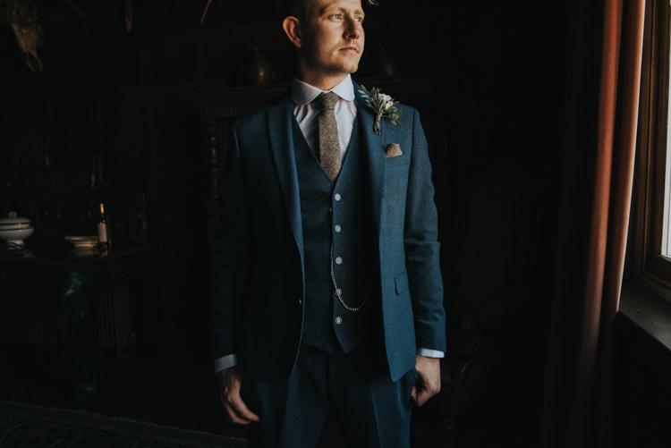 Navy Wool Suit Groom Style Herbs Flowers Home Made Walled Garden Wedding https://www.rosiekelly.co.uk/