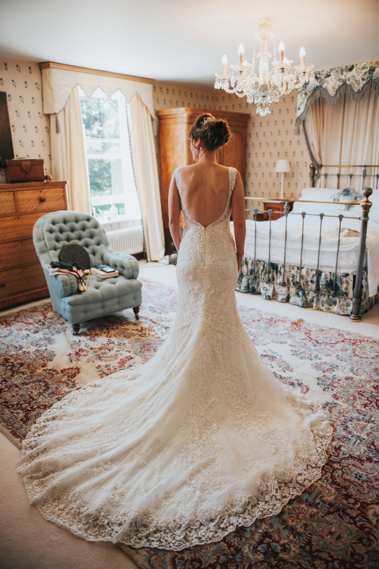 Low Back Lace Train Dress Bride Bridal Herbs Flowers Home Made Walled Garden Wedding https://www.rosiekelly.co.uk/