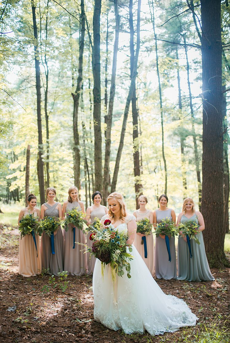 Bridal Party Mismatched Pastel Bridesmaids Green Bouquet Foliage Capped Sleeve Dress Lace Whimsical Woods Wedding Barn Ohio http://www.connectionphotoblog.com/