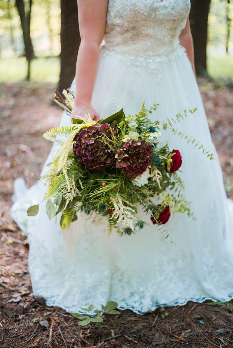 Lace Gown A Line Bouquet Greenery Red Foliage Whimsical Woods Wedding Barn Ohio http://www.connectionphotoblog.com/