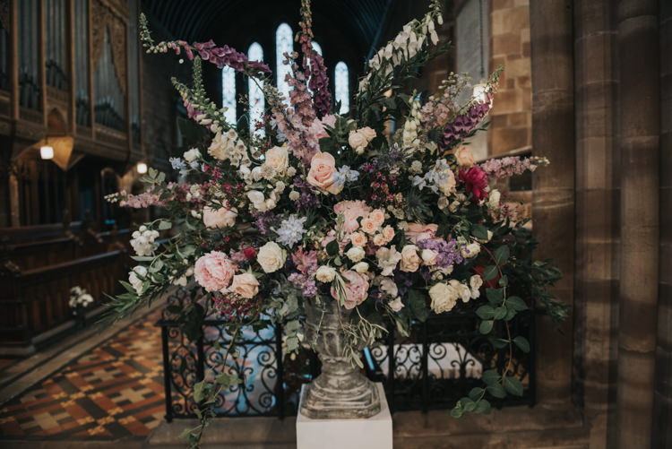 Church Flowers Arrangement Fox Gloves Peony Rose Herbs Flowers Home Made Walled Garden Wedding https://www.rosiekelly.co.uk/