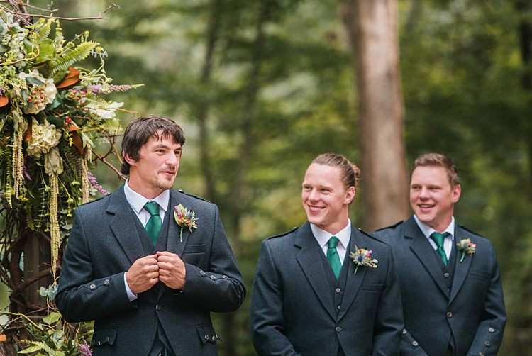 Groom Bestman Greenery Kilt Outdoors Thistle Buttonholes Whimsical Woods Wedding Barn Ohio http://www.connectionphotoblog.com/