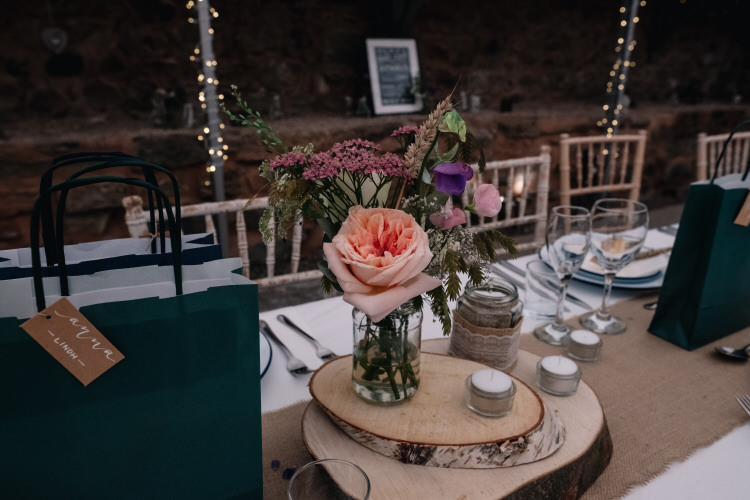 Centrepiece Decor Table Log Jar Flowers Twinkling Rustic DIY Barn Wedding https://www.harperscottphoto.com/