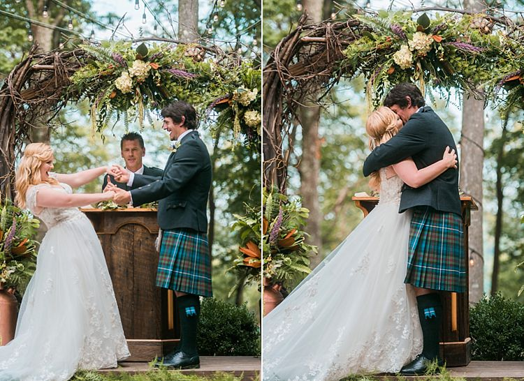 Bride Groom Kiss Ceremony Vows Tartan Kilt Dress Cap Sleeve Lace Curls Archway Branches Whimsical Woods Wedding Barn Ohio http://www.connectionphotoblog.com/