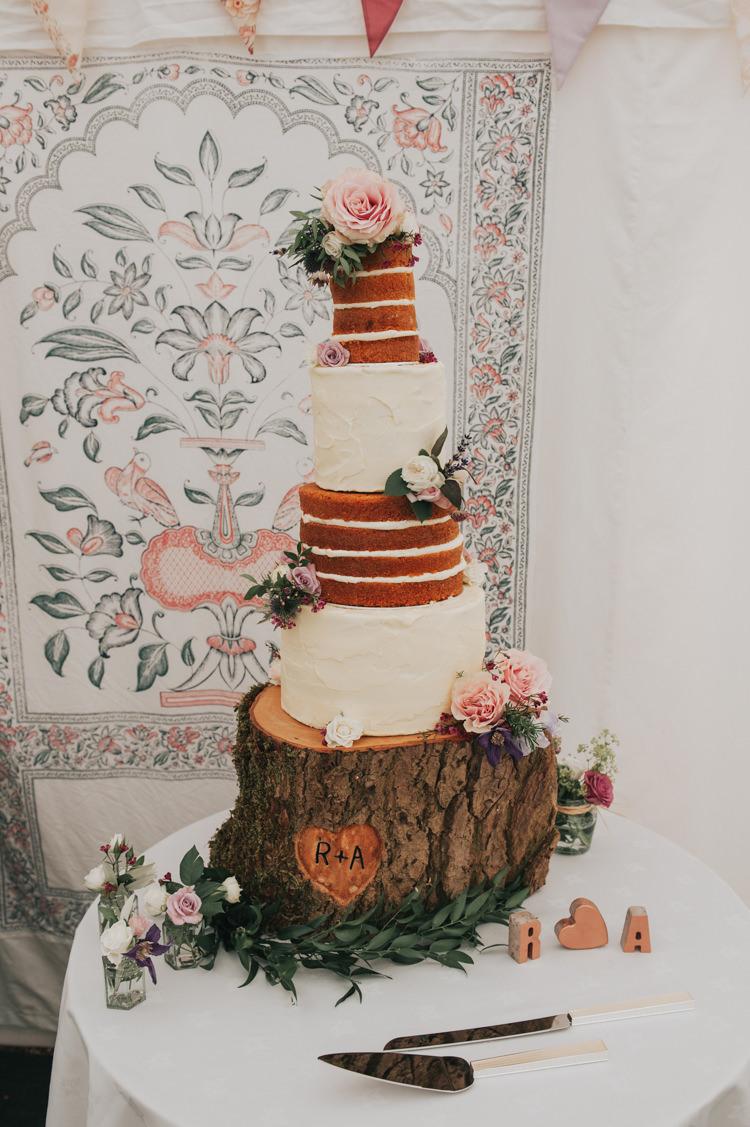 Tall Naked Buttercream Cake Log Stand Layer Sponge Herbs Flowers Home Made Walled Garden Wedding https://www.rosiekelly.co.uk/