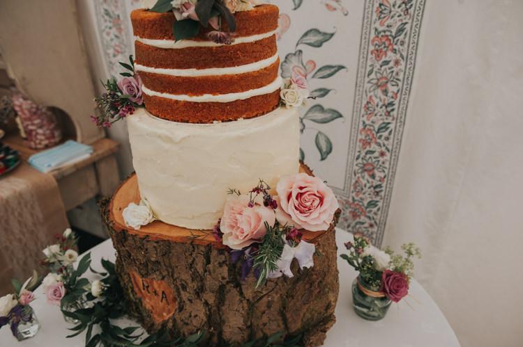 Naked Cake Sponge Buttercream Herbs Flowers Home Made Walled Garden Wedding https://www.rosiekelly.co.uk/